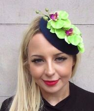 Green Navy Blue Orchid Flower Pillbox Hat Fascinator Races Headpiece Clip 3437