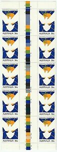 1986 AUSTRALIA 'INTERNATIONAL YEAR OF PEACE' GUTTER STRIP of 10 x 36c MNH STAMPS