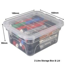 4 X Spacemaster Small Stackable Storage Craft Hobby Boxes 18cm X 16cm X 9cm Lid