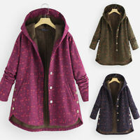 UK Womens Floral Hooded Fleece Fur Lined Coat Winter Thick Long Jacket Plus Size