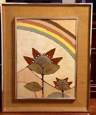 Early 70's Lee Reynolds ~ Oil Painting ~ Rainbows and Flowers ~ Silver Leaf