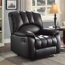 Recliner Reclining Chair Black PU Leather Oversized Large Pocketed Comfort Coils