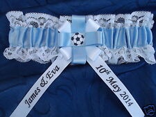 PERSONALISED FOOTBALL WEDDING BRIDES GARTER MAN CITY COVENTRY  COLOURS NEW BOXED