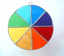 Rainbow Chakra colour wheel 10cm stained glass suncatcher healing reiki teaching