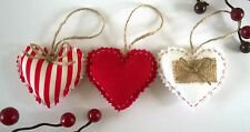 Christmas Tree Heart Decoration Shabby Chic Hanging Set of 3 Nordic Style fabric