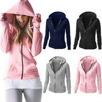 Women Hoodie Hooded Zipper Sweatshirt Sweater Ladies Pullover Jumper Casual Coat