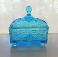 Tiara Indiana Glass Horizon Blue Covered Honey Bee Box