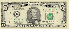 1993 $5 Federal Reserve Star Note Richmond FRN Rare Issue FR 1982-E*