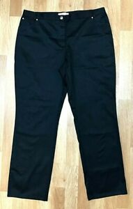Anne Weyburn smart stretch BLACK straight leg travel trousers UK 20 EU 48 L30