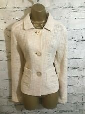 Avoca Oversize Cream Cotton Boucle Mesh Jacket  Size 0 UK 6/8