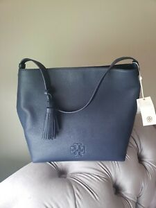 Tory Burch Thea Pebbled Leather Hobo Bag in Royal Navy $475, Nwt!
