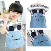 New Summer Toddler Kids Baby Girl Clothes Blouse T-shirt Tops Dress Outfits Set