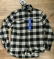 JACHS Men's Brawny Flannel Shirt Size Large (Tall) Black/Grey/White 100% Cotton