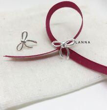 Ribbon Handmade Ladies Beautiful Accessor Earrings 925 Sterling Silver Bow Stud