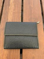 GUCCI Guccissima Wallet Black Leather and Dark Green Leather Trim Made in Italy