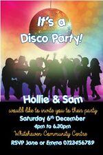 Children Personalised Disco Birthday Party invitations x 10
