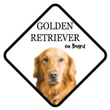 GOLDEN RETRIEVER On Board Car Sign With Sucker Dog Stickers