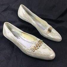 NEW Women's Rangoni Firenze Loafers w/ chain Silver Patent dot leather Sz 7.5