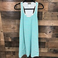 Tommy Bahama Women's Turquoise And White Striped Racer Back Sleeveless Dress