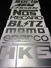 9 Car Sponsor Decal Pack SILVER Color! JDM Racing Stickers