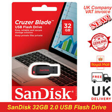 New 100% Genuine SanDisk Cruzer Blade 32gb USB 2.0 Flash Pen Drive Memory Stick