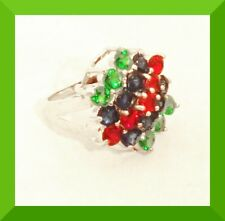 New Multicolor Ruby, Emerald, Sapphire Silver Cluster Ring Sz 6 FREE SHIP #113