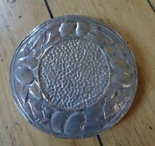 More details for antique arts & crafts 1920s hammered metal pewter coaster or trivet w/ fruit