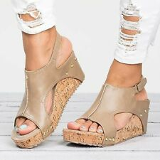 Women Tan PU Ankle Strap Peep Toe Sandals Platform Wedge Shoes size 41 9.5 US