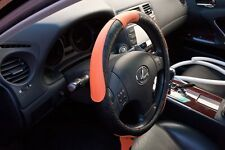 Non Slip Black Orange PVC Leather Steering Wheel Cover Nice Fit Comfy 51007c