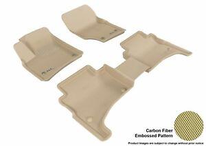 For 2004-2010 Porsche Cayenne Kagu Carbon Pattern Tan All Weather Floor Mat