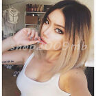 Women Black Ombre Blonde Straight Short Bob Synthetic Hair Full Party Wig HOT