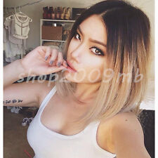 Ombre Blonde Lace Front Wig Long Straight Synthetic Wigs For Women Heat Friendly