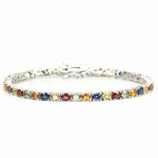 Sterling Silver Genuine Natural Mixed Colour Songea Sapphire Bracelet 7 1/4 Inch