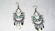 Green Stone Chandelier Dangle Bollywood Exotic Pair of Earrings Jewelry Fashion