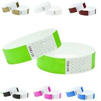 Wristbands Tyvek 100 Pack Security Events ID Parties Crowd Control 19mm Numbered