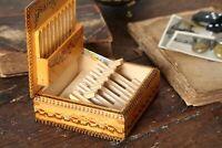 Vintage Wooden Cigarette Holder Cigarette Dispenser Smokers Storage Tobacco Box