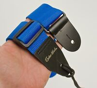 Guitar Strap BLUE Nylon Leather Ends Fits All Acoustic & Electrics Made In USA