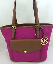 New Michael Kors Jet Set Item Nylon Medium Pocket Tote Bag Handbag Purse Fuchsia