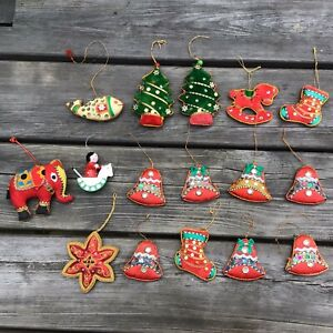 Job Lot Vintage Fabric Xmas Decorations Bells Stockings Elephant Trees Fish