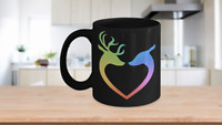 Reindeer Mug Black Tiedye Coffee Cup Funny Gift for Lovers Partner Husband Wife
