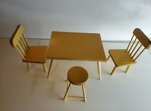 Vintage Halls Lifetime Toy Wooden Doll House Table & 3 Chairs