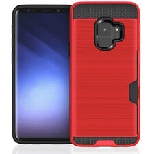 Shockproof Slim Red Case with Credit Card Holder For Samsung Galaxy S9+ Plus