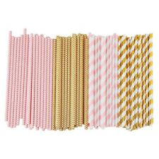 Biodegradable Paper Straws, 100 Pink For Party Supplies, Birthday, Wedding, Brid