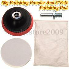 50g Cerium Oxide Polishing Powder And 3'' Felt Polishing Wheel Pad&Drill Adapter