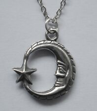 Chain Necklace #2310 Pewter MOON & STAR (19mm x 16mm) Celestial
