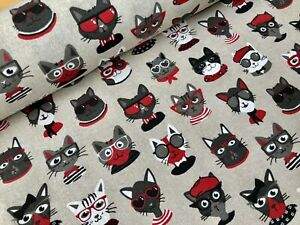 Hipster CATS Fabric Curtain Upholstery Cotton Cat Print Material 55' wide canvas