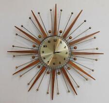 Superb Westclox Mid Century Teak & Brass Ball Starburst Wall Clock c1960s