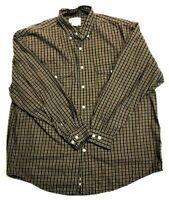 Eddie Bauer Men's Large Long Sleeve Button Front Plaid Shirt Brown 100% Cotton