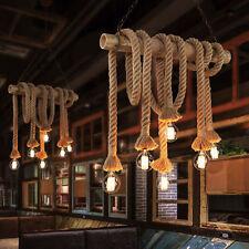 Industrial Vintage Hemp Rope Chandelier Pendant Light Bamboo Ceiling Lamp