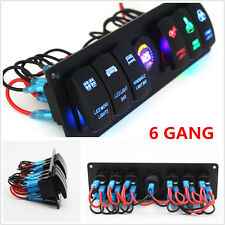 For Car Marine Boat 6 GANG Rocker Switch Panel Circuit Breaker LED Voltmeter RV
